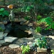 Fountains ponds streams design install water gardens Waterless ponds fountains Waterfalls stream koi ponds landscape Sandford DeLand Palm Coast plant tree sod paver mulch rock