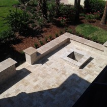 Travertine patio and fire pit Deland Sanford Palm Coast