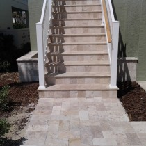 Traverine brick paver walkway Deland Sanford Palm Coast