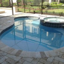 Travertine paver pool deck Deland Sanford Palm Coast