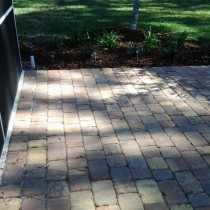 Paver patio with plants sod and mulch Deland Sanford Palm Coast