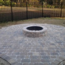 paver patio by design with fire pit landscape deland sanford palm coast