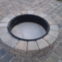 Paver patio with fire pit landscape design deland sanford palm coast